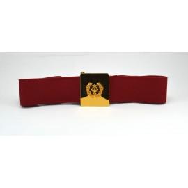 Cinturón liso con hebilla de lira pequeña con palmas