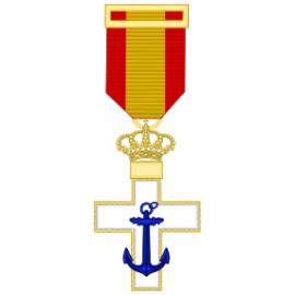 Cruz al merito Naval distintivo blanco (mediana)