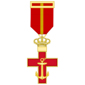 Cruz al merito Naval distintivo rojo (mediana)